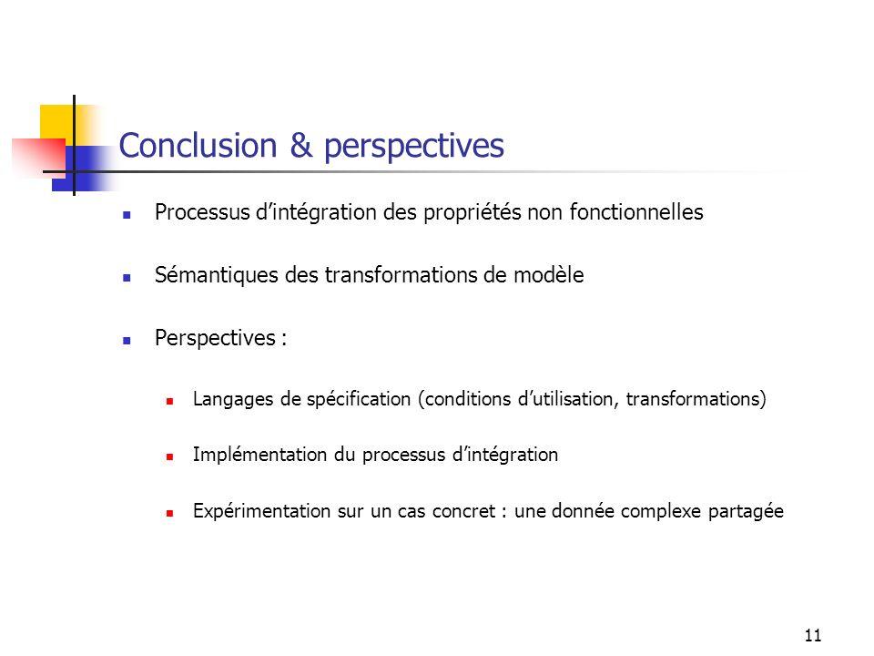 11 Conclusion & perspectives Processus dintégration des propriétés non fonctionnelles Sémantiques des transformations de modèle Perspectives : Langages de spécification (conditions dutilisation, transformations) Implémentation du processus dintégration Expérimentation sur un cas concret : une donnée complexe partagée