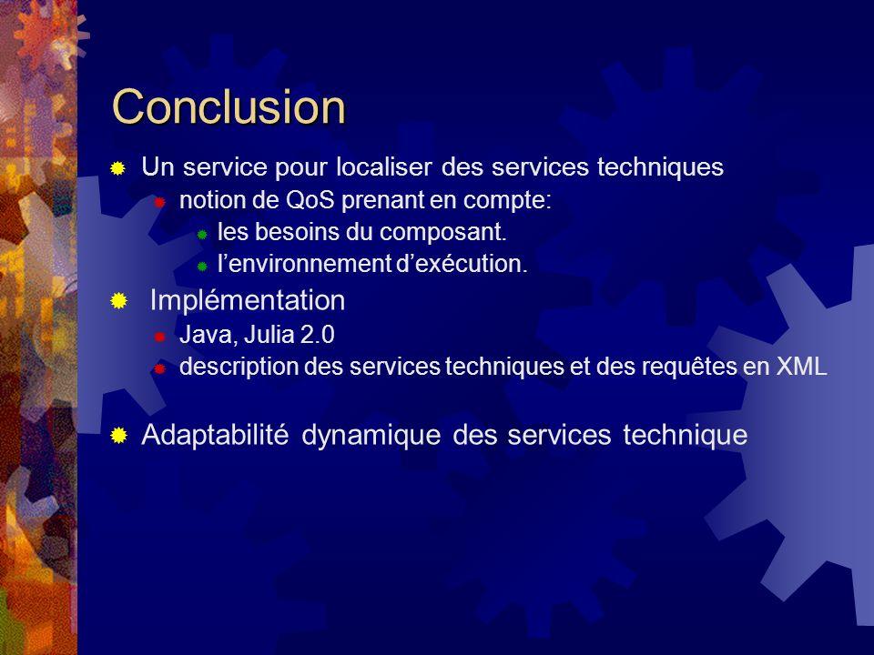 Conclusion Un service pour localiser des services techniques notion de QoS prenant en compte: les besoins du composant.