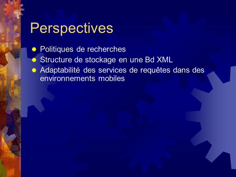 Perspectives Politiques de recherches Structure de stockage en une Bd XML Adaptabilité des services de requêtes dans des environnements mobiles