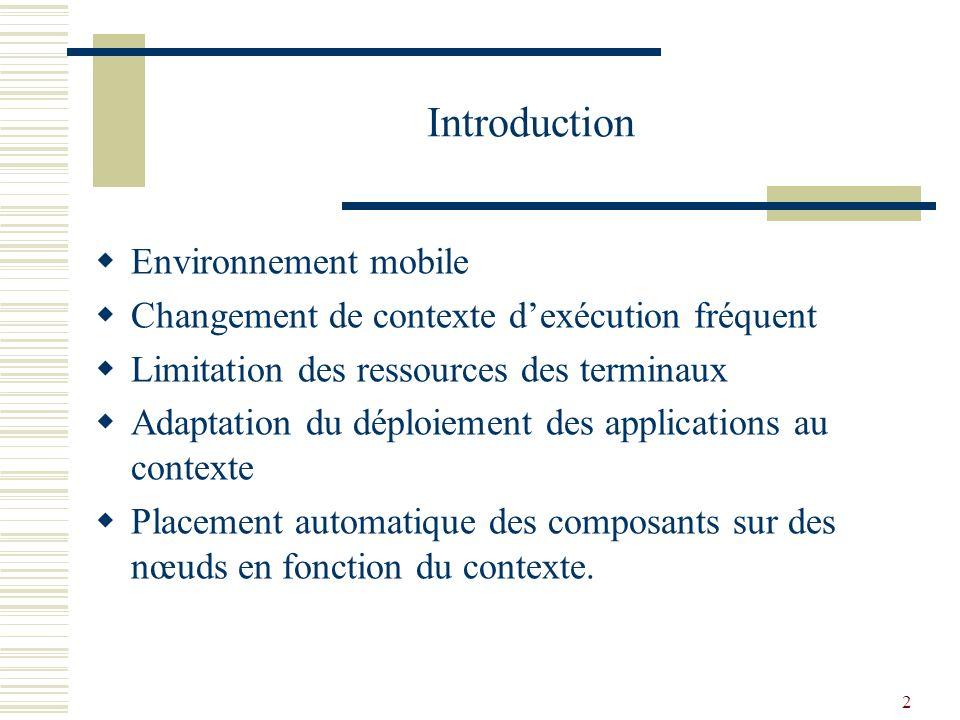 2 Introduction Environnement mobile Changement de contexte dexécution fréquent Limitation des ressources des terminaux Adaptation du déploiement des applications au contexte Placement automatique des composants sur des nœuds en fonction du contexte.