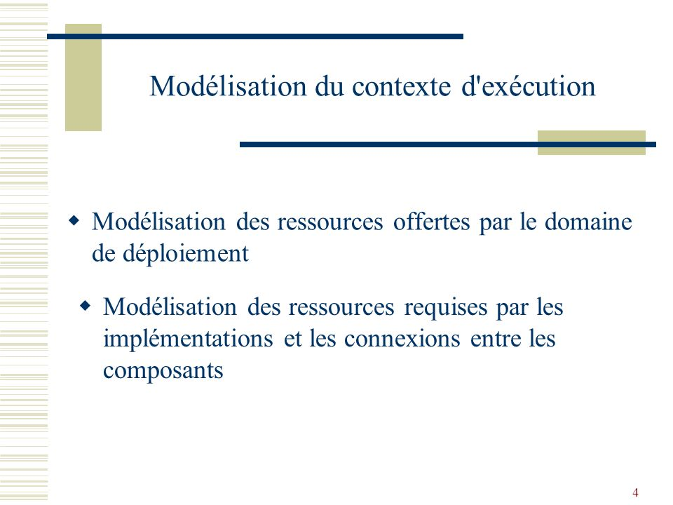 4 Modélisation des ressources offertes par le domaine de déploiement Modélisation des ressources requises par les implémentations et les connexions entre les composants