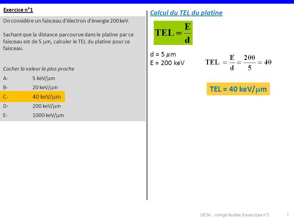 UE3A : corrigé feuilles d exercices n°31 Exercice n°1 On considère un faisceau délectron dénergie 200 keV.