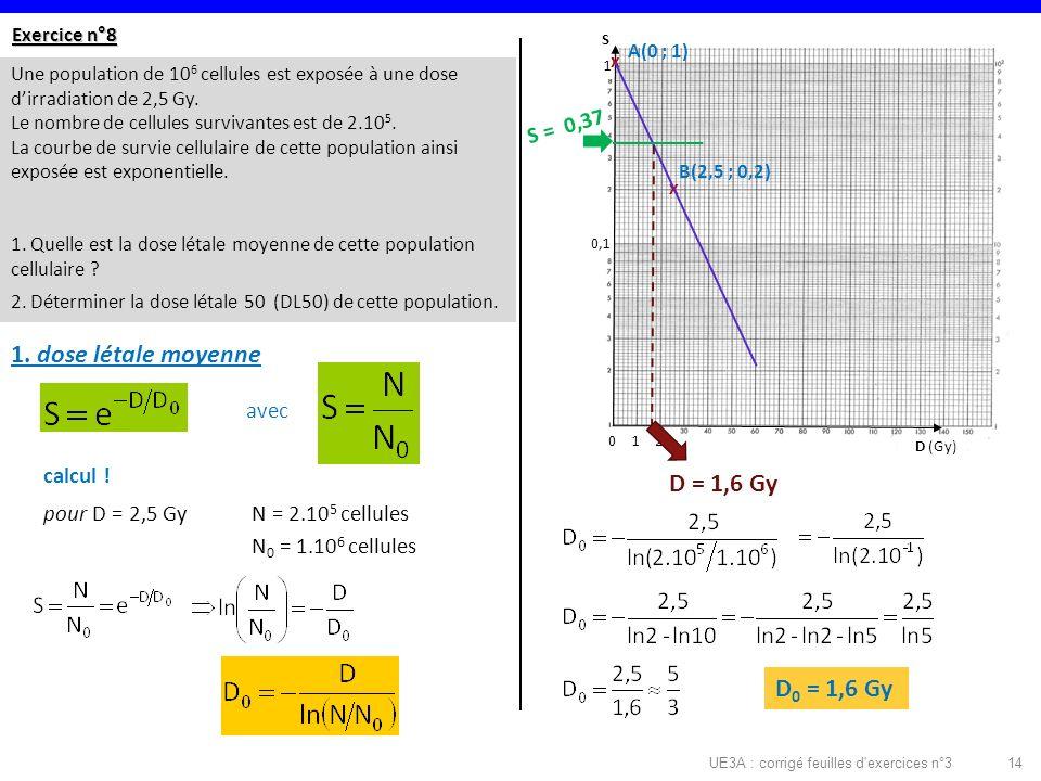 UE3A : corrigé feuilles d exercices n°314 Exercice n°8 Une population de 10 6 cellules est exposée à une dose dirradiation de 2,5 Gy.