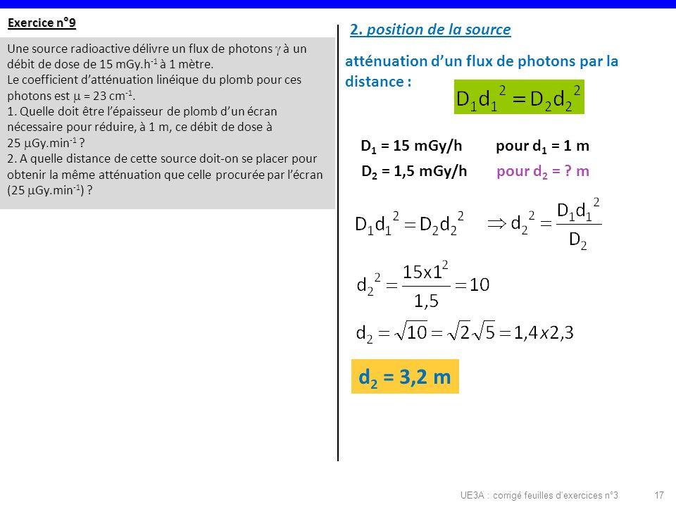 UE3A : corrigé feuilles d exercices n°317 Exercice n°9 Une source radioactive délivre un flux de photons à un débit de dose de 15 mGy.h -1 à 1 mètre.