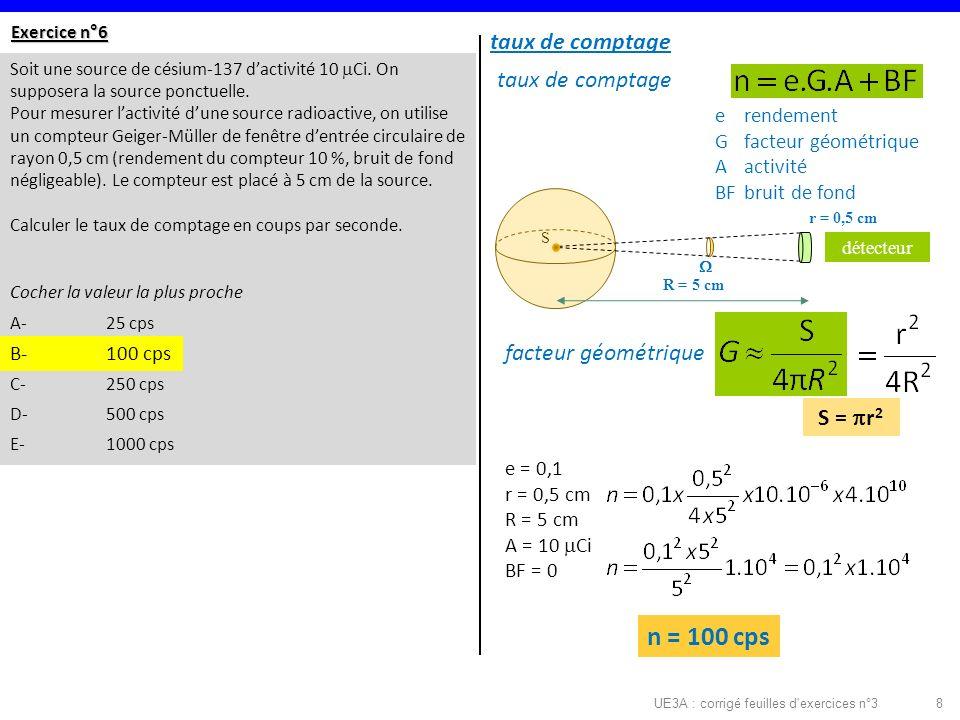 UE3A : corrigé feuilles d exercices n°38 Exercice n°6 Soit une source de césium-137 dactivité 10 Ci.