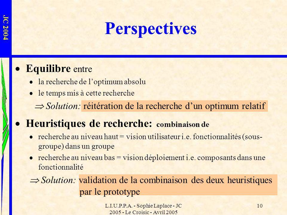 L.I.U.P.P.A. - Sophie Laplace - JC 2005 - Le Croisic - Avril 2005 10 Heuristiques de recherche: combinaison de recherche au niveau haut = vision utili