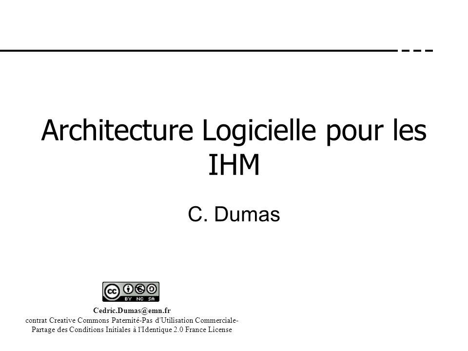 Architecture Logicielle pour les IHM C. Dumas Cedric.Dumas@emn.fr contrat Creative Commons Paternité-Pas d'Utilisation Commerciale- Partage des Condit