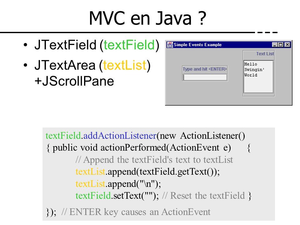 MVC en Java ? JTextField (textField) JTextArea (textList) +JScrollPane textField.addActionListener(new ActionListener() { public void actionPerformed(
