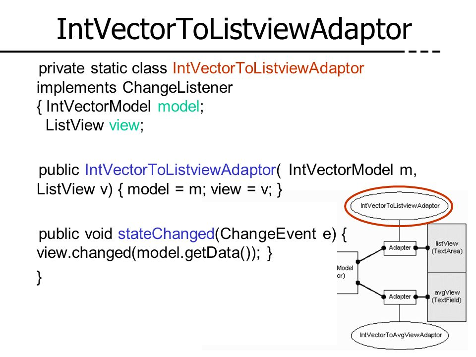 IntVectorToListviewAdaptor private static class IntVectorToListviewAdaptor implements ChangeListener { IntVectorModel model; ListView view; public Int