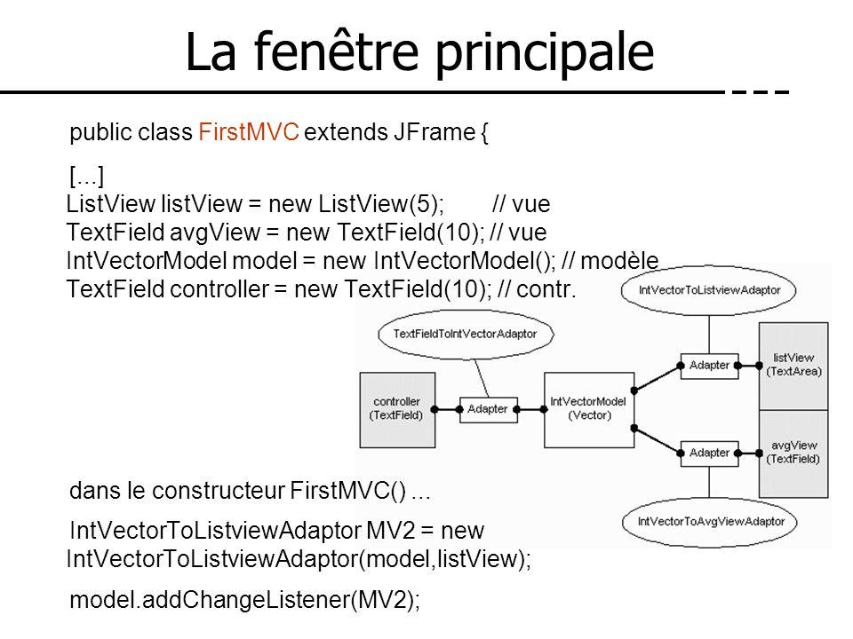 La fenêtre principale public class FirstMVC extends JFrame { [...] ListView listView = new ListView(5); // vue TextField avgView = new TextField(10);