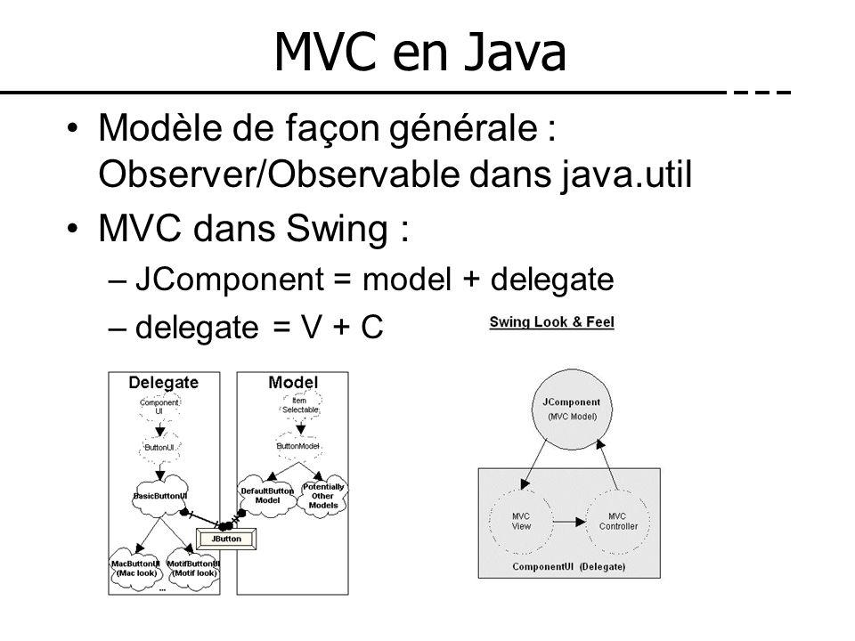 MVC en Java Modèle de façon générale : Observer/Observable dans java.util MVC dans Swing : –JComponent = model + delegate –delegate = V + C