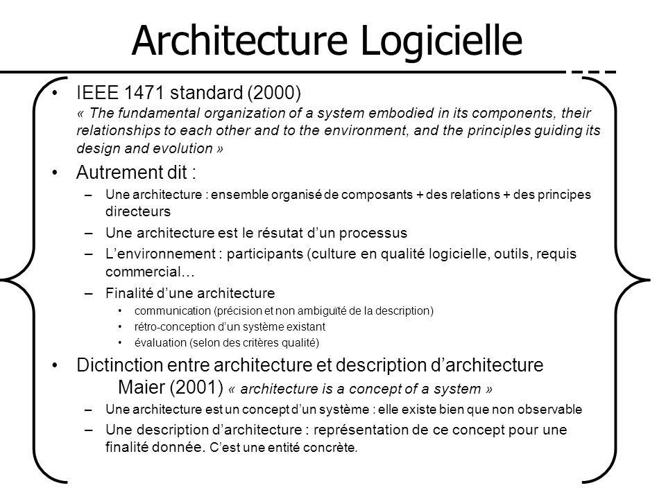 Architecture Logicielle IEEE 1471 standard (2000) « The fundamental organization of a system embodied in its components, their relationships to each o