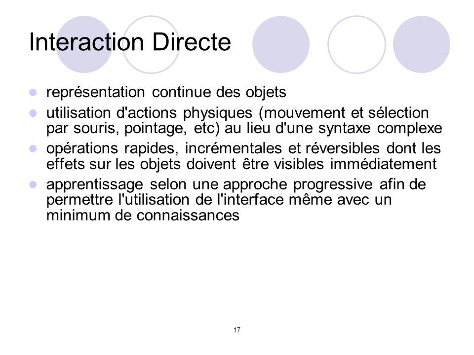 17 Interaction Directe représentation continue des objets utilisation d actions physiques (mouvement et sélection par souris, pointage, etc) au lieu d une syntaxe complexe opérations rapides, incrémentales et réversibles dont les effets sur les objets doivent être visibles immédiatement apprentissage selon une approche progressive afin de permettre l utilisation de l interface même avec un minimum de connaissances