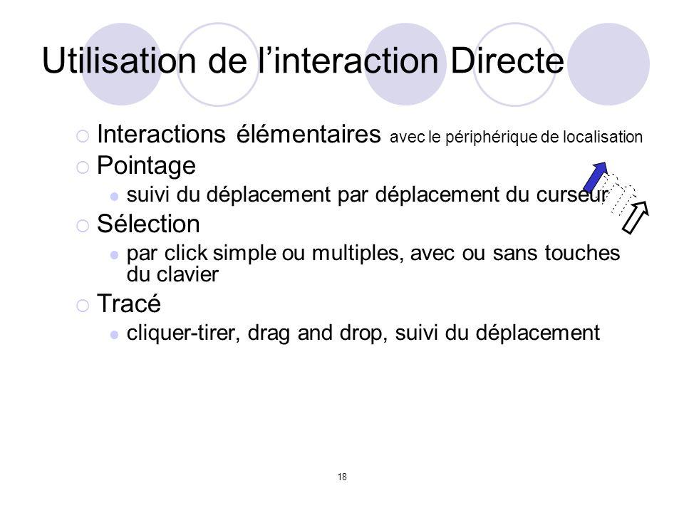 18 Utilisation de linteraction Directe Interactions élémentaires avec le périphérique de localisation Pointage suivi du déplacement par déplacement du curseur Sélection par click simple ou multiples, avec ou sans touches du clavier Tracé cliquer-tirer, drag and drop, suivi du déplacement