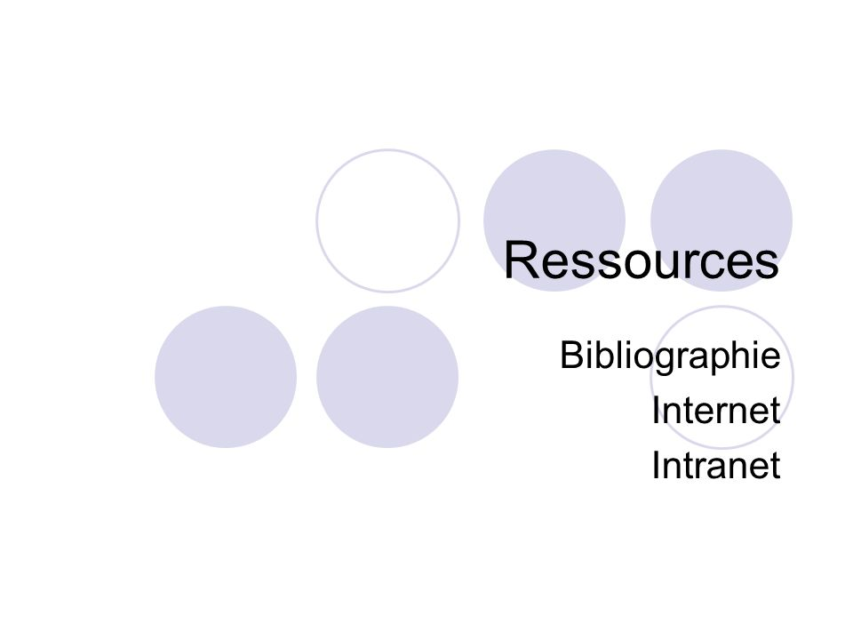 Ressources Bibliographie Internet Intranet