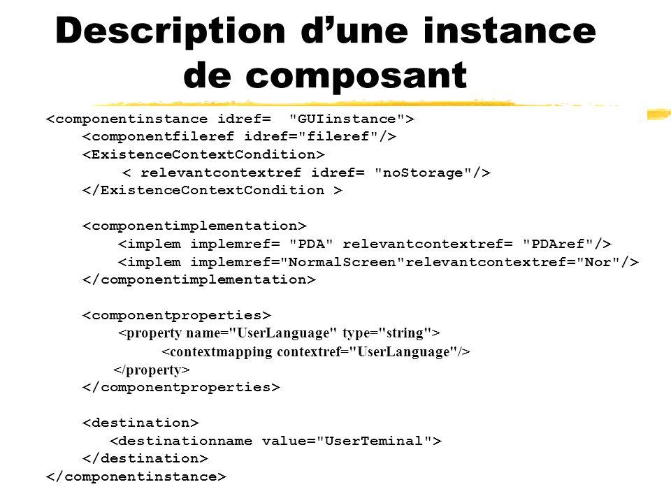 Description dune instance de composant
