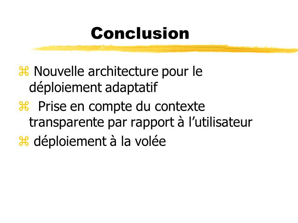 Conclusion z Nouvelle architecture pour le déploiement adaptatif z Prise en compte du contexte transparente par rapport à lutilisateur z déploiement à