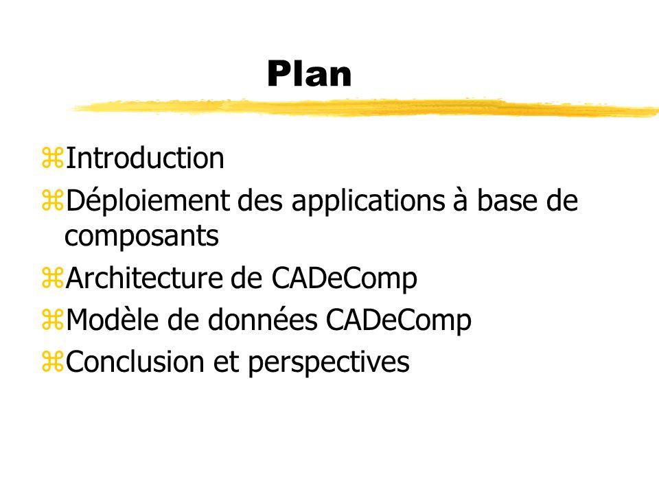 Plan zIntroduction zDéploiement des applications à base de composants zArchitecture de CADeComp zModèle de données CADeComp zConclusion et perspective