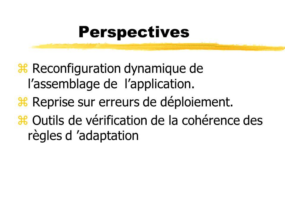 Perspectives z Reconfiguration dynamique de lassemblage de lapplication. z Reprise sur erreurs de déploiement. z Outils de vérification de la cohérenc
