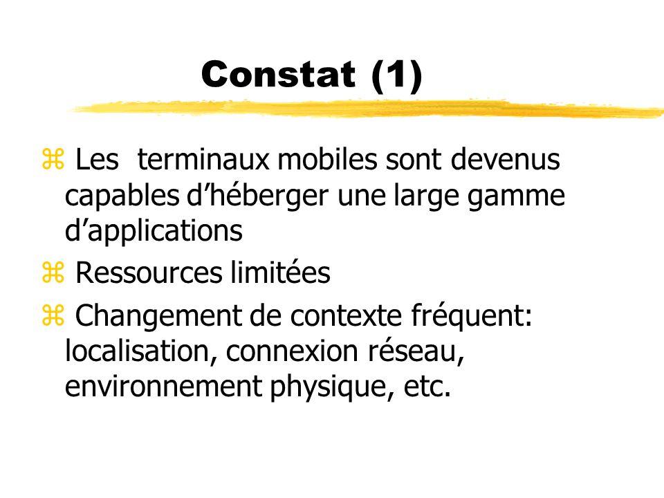 Constat (1) z Les terminaux mobiles sont devenus capables dhéberger une large gamme dapplications z Ressources limitées z Changement de contexte fréqu