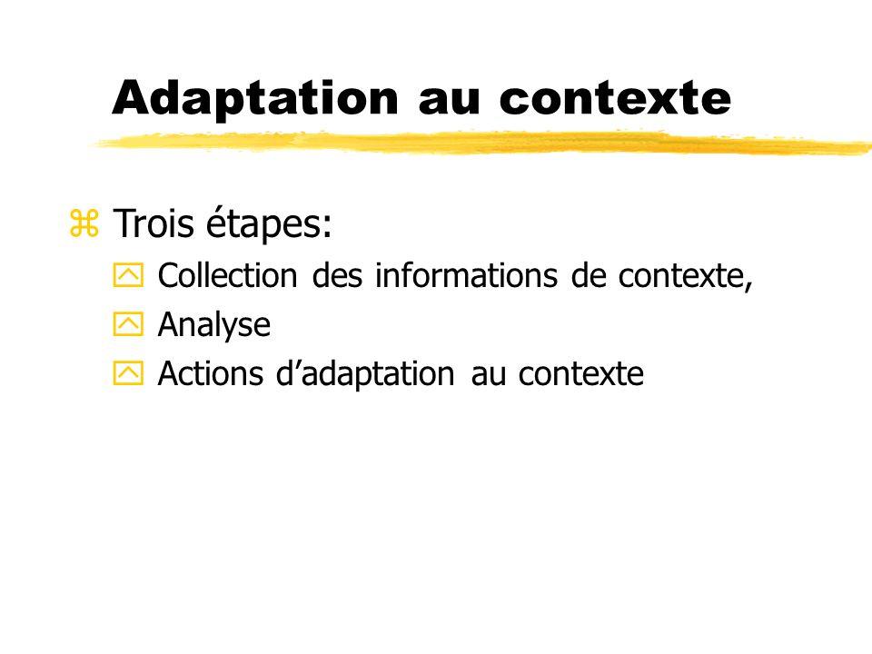 Adaptation au contexte z Trois étapes: y Collection des informations de contexte, y Analyse y Actions dadaptation au contexte