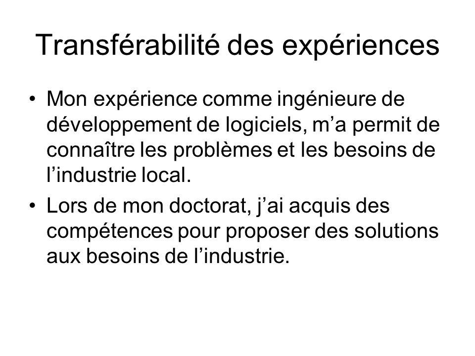 Transférabilité des expériences Mon expérience comme ingénieure de développement de logiciels, ma permit de connaître les problèmes et les besoins de