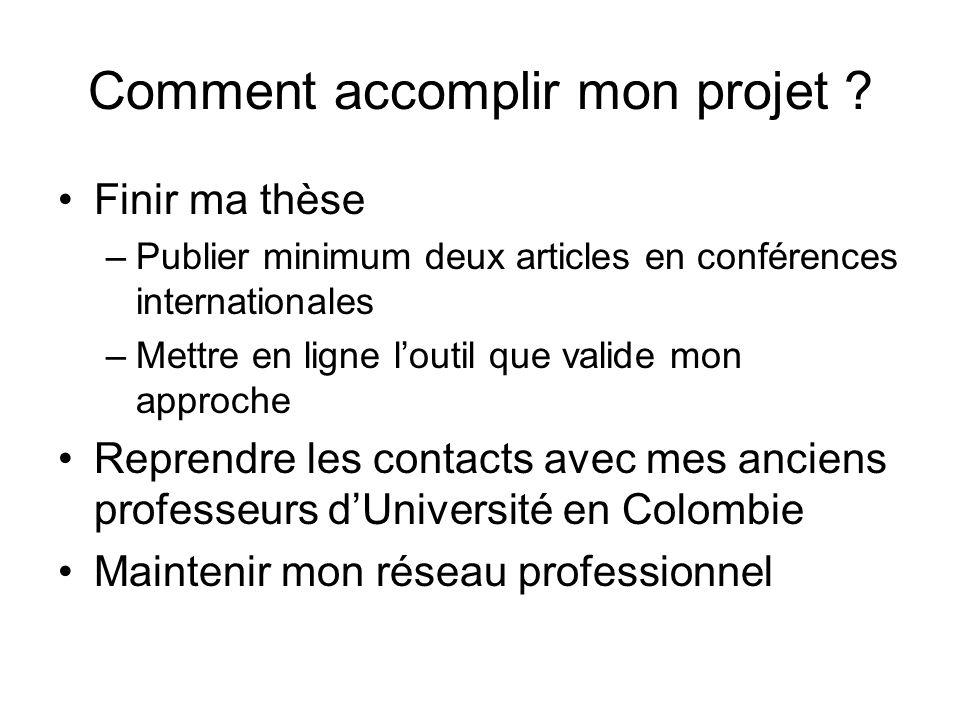 Comment accomplir mon projet ? Finir ma thèse –Publier minimum deux articles en conférences internationales –Mettre en ligne loutil que valide mon app