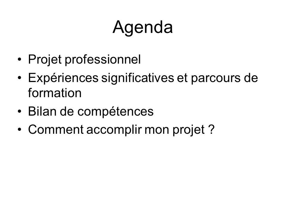 Agenda Projet professionnel Expériences significatives et parcours de formation Bilan de compétences Comment accomplir mon projet ?