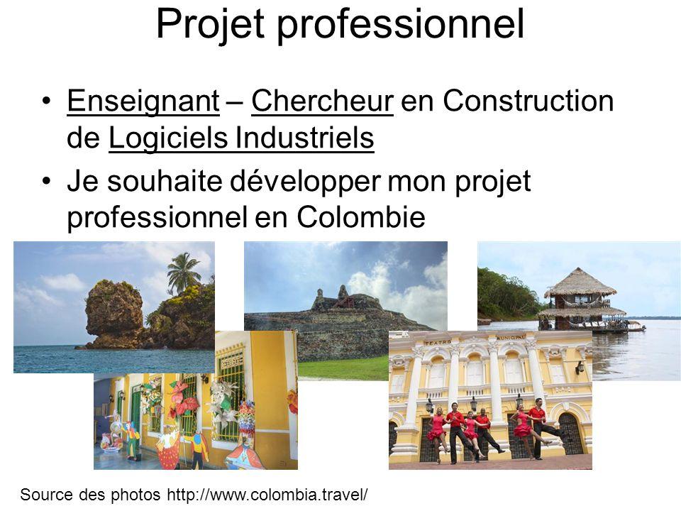 Projet professionnel Enseignant – Chercheur en Construction de Logiciels Industriels Je souhaite développer mon projet professionnel en Colombie Sourc