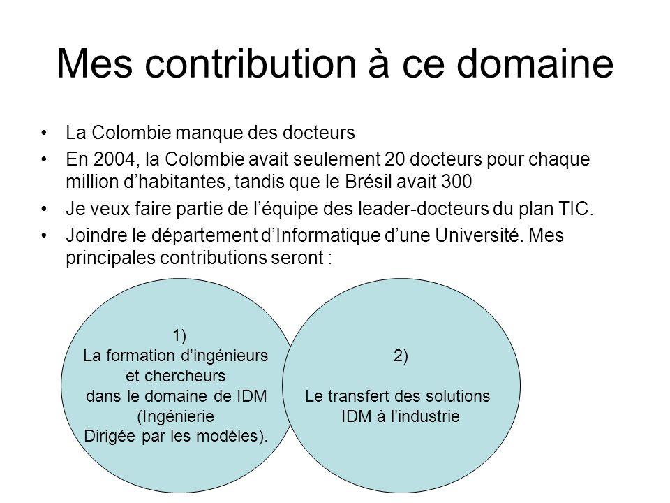 Mes contribution à ce domaine La Colombie manque des docteurs En 2004, la Colombie avait seulement 20 docteurs pour chaque million dhabitantes, tandis