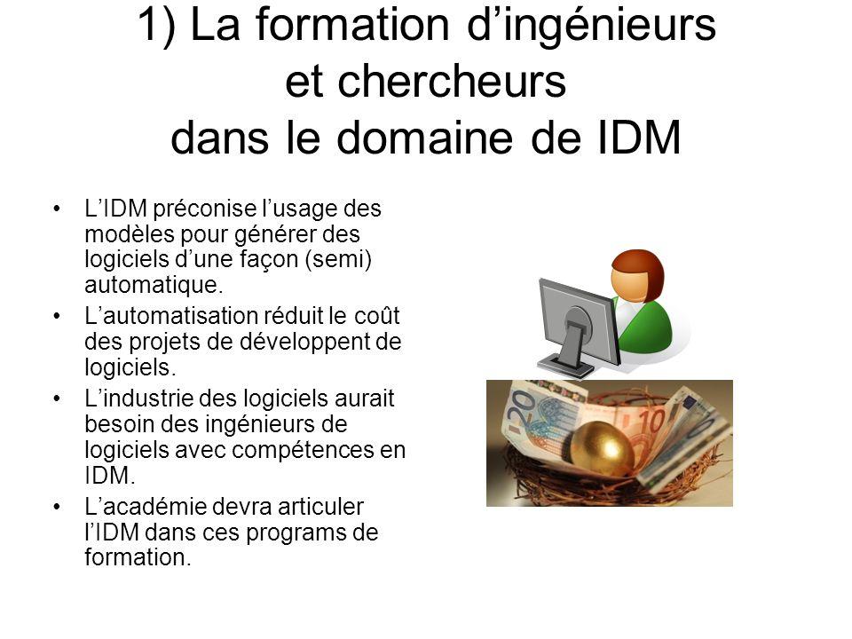 1) La formation dingénieurs et chercheurs dans le domaine de IDM LIDM préconise lusage des modèles pour générer des logiciels dune façon (semi) automa