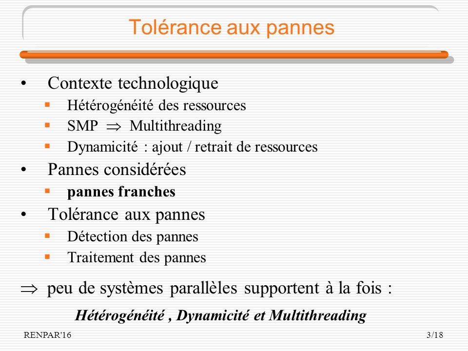 RENPAR'163/18 Tolérance aux pannes Contexte technologique Hétérogénéité des ressources SMP Multithreading Dynamicité : ajout / retrait de ressources P