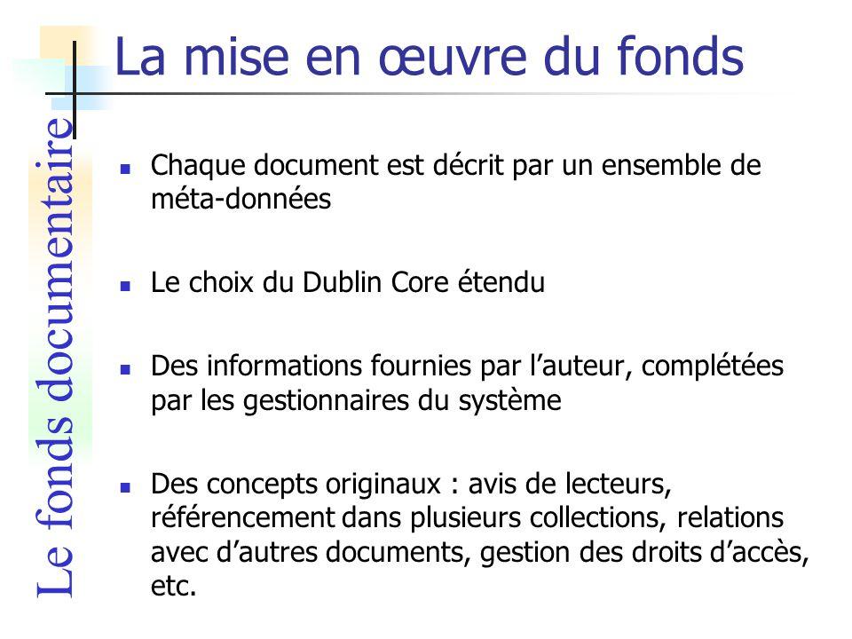 La mise en œuvre du fonds Chaque document est décrit par un ensemble de méta-données Le choix du Dublin Core étendu Des informations fournies par laut