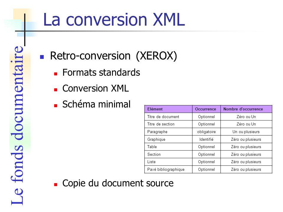 La conversion XML Retro-conversion (XEROX) Formats standards Conversion XML Schéma minimal Copie du document source ElémentOccurrenceNombre d'occurren