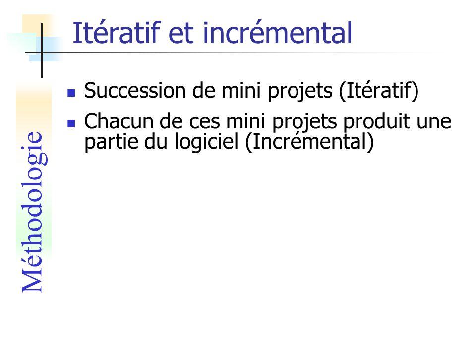Itératif et incrémental Succession de mini projets (Itératif) Chacun de ces mini projets produit une partie du logiciel (Incrémental) Méthodologie