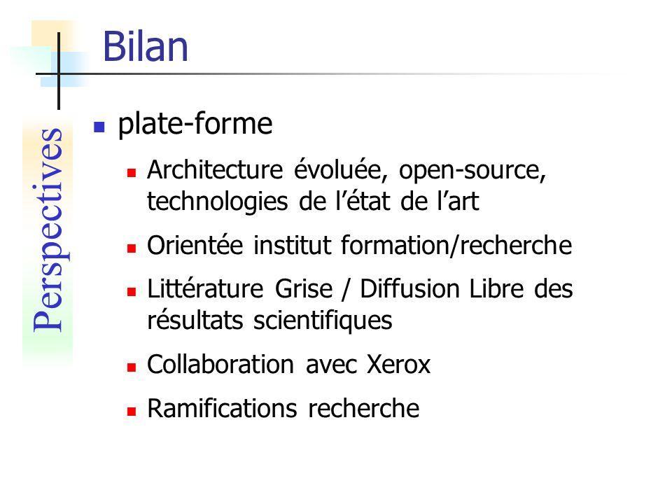Bilan plate-forme Architecture évoluée, open-source, technologies de létat de lart Orientée institut formation/recherche Littérature Grise / Diffusion