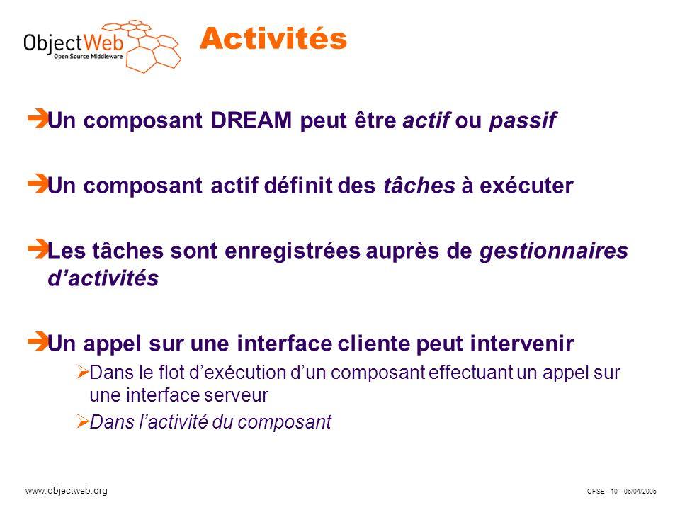 www.objectweb.org CFSE - 10 - 06/04/2005 Activités è Un composant DREAM peut être actif ou passif è Un composant actif définit des tâches à exécuter è