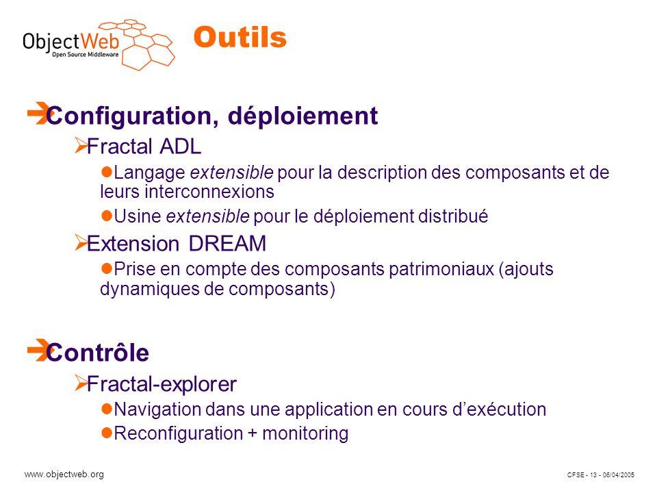 www.objectweb.org CFSE - 13 - 06/04/2005 Outils è Configuration, déploiement Fractal ADL Langage extensible pour la description des composants et de leurs interconnexions Usine extensible pour le déploiement distribué Extension DREAM Prise en compte des composants patrimoniaux (ajouts dynamiques de composants) è Contrôle Fractal-explorer Navigation dans une application en cours dexécution Reconfiguration + monitoring