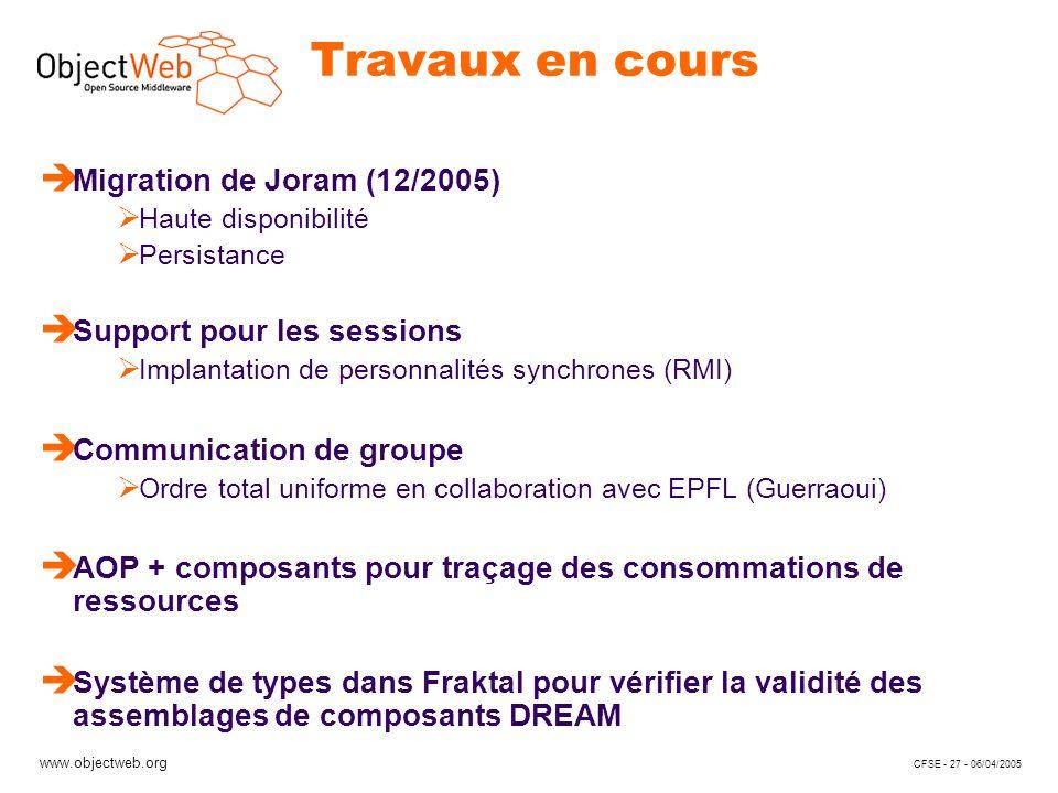 www.objectweb.org CFSE - 27 - 06/04/2005 Travaux en cours è Migration de Joram (12/2005) Haute disponibilité Persistance è Support pour les sessions I
