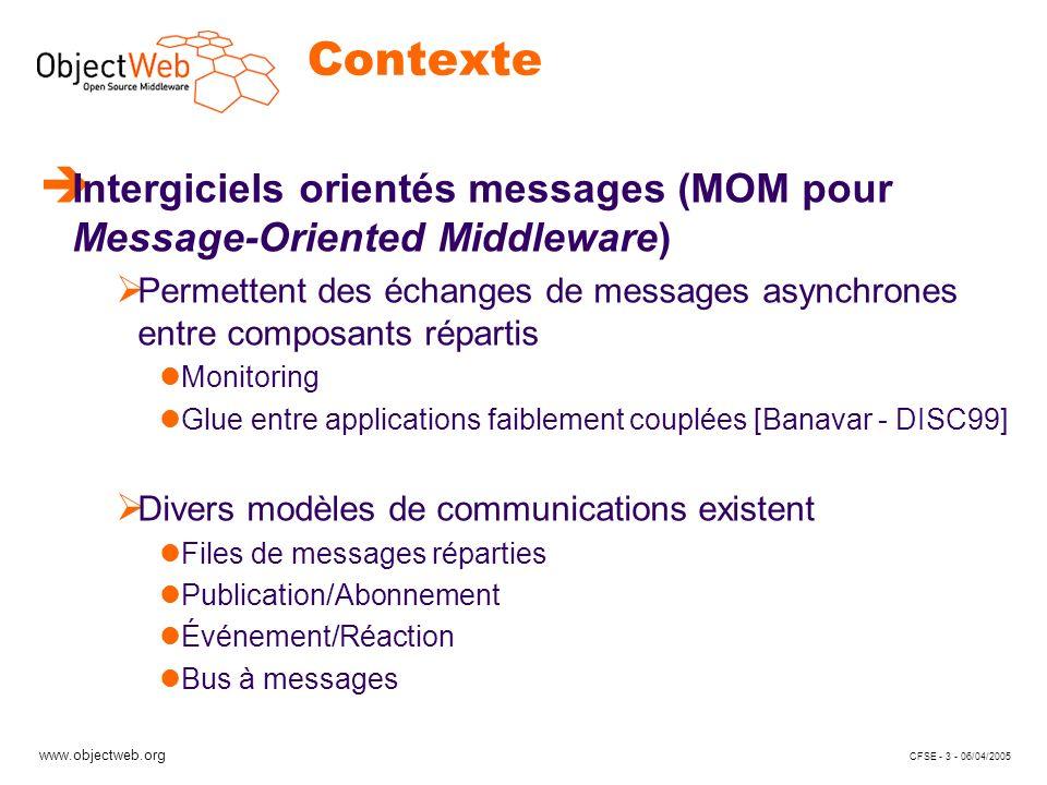 www.objectweb.org CFSE - 4 - 06/04/2005 Motivations (1) è Les MOM existants Fournissent une API figée JMS (JORAM, WebSphere MQ, iBus, …) Ad-Hoc (BEA MessageQ, Gryphon, SIENA, …) Ont des PNF coûteuses et peu configurables Ont une architecture monolithique Le développeur dapplications est contraint à des abstractions fixées