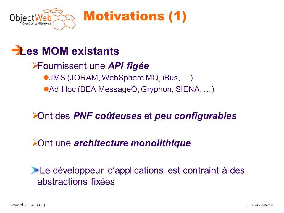 www.objectweb.org CFSE - 4 - 06/04/2005 Motivations (1) è Les MOM existants Fournissent une API figée JMS (JORAM, WebSphere MQ, iBus, …) Ad-Hoc (BEA M