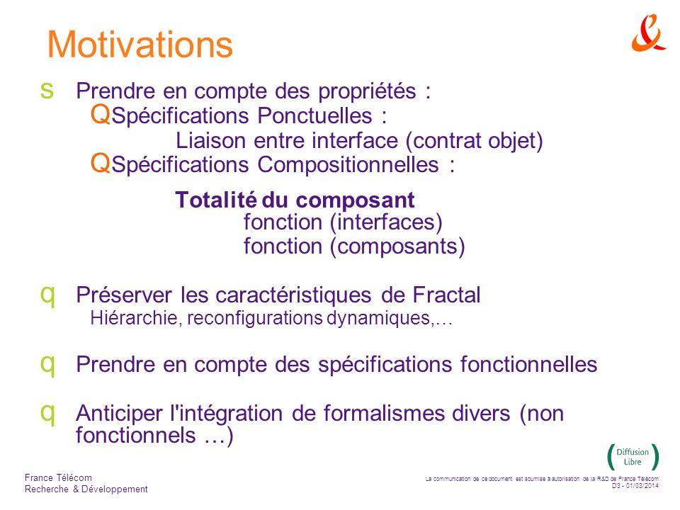 La communication de ce document est soumise à autorisation de la R&D de France Télécom D3 - 01/03/2014 France Télécom Recherche & Développement Motivations Prendre en compte des propriétés : Spécifications Ponctuelles : Liaison entre interface (contrat objet) Spécifications Compositionnelles : Totalité du composant fonction (interfaces) fonction (composants) Préserver les caractéristiques de Fractal Hiérarchie, reconfigurations dynamiques,… Prendre en compte des spécifications fonctionnelles Anticiper l intégration de formalismes divers (non fonctionnels …)