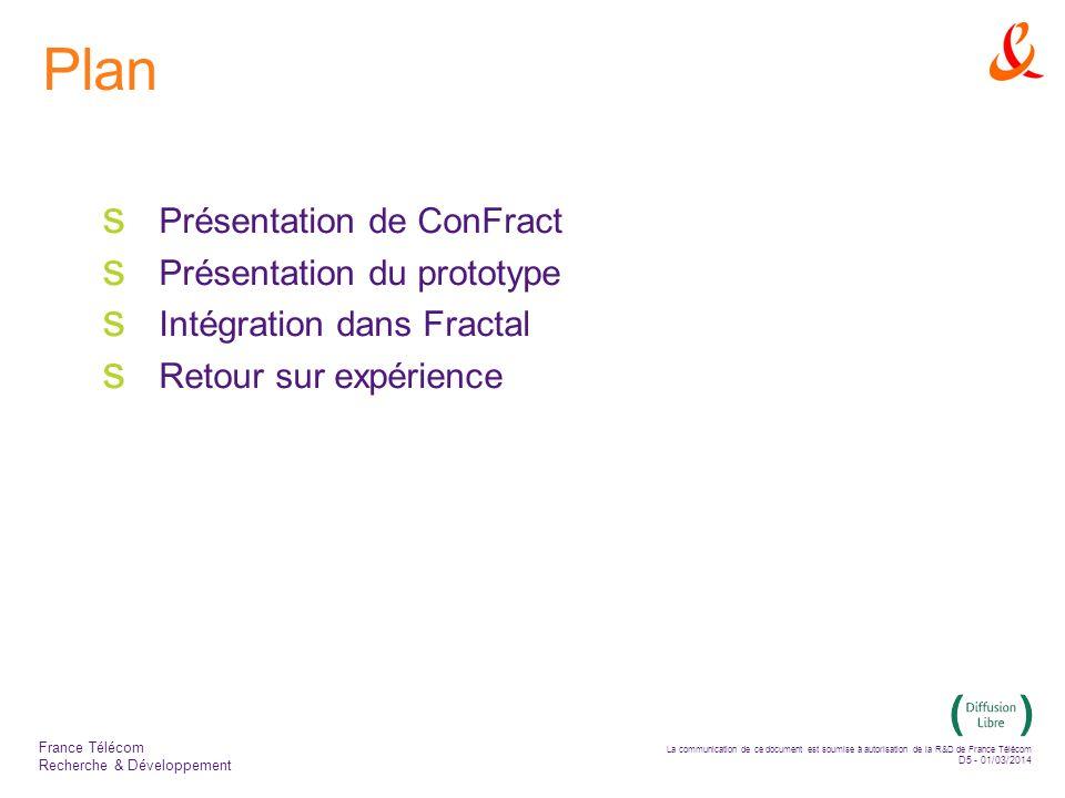 La communication de ce document est soumise à autorisation de la R&D de France Télécom D5 - 01/03/2014 France Télécom Recherche & Développement Plan Présentation de ConFract Présentation du prototype Intégration dans Fractal Retour sur expérience