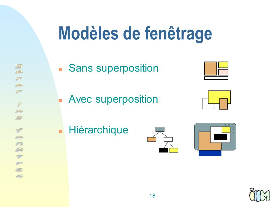 18 Modèles de fenêtrage n Sans superposition n Avec superposition n Hiérarchique
