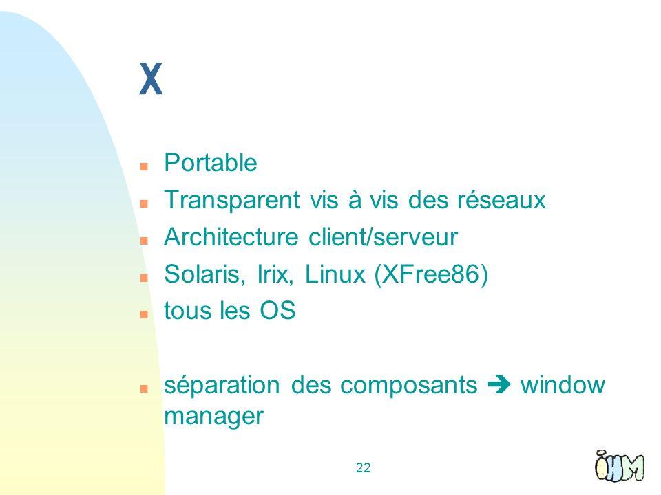 22 X n Portable n Transparent vis à vis des réseaux n Architecture client/serveur n Solaris, Irix, Linux (XFree86) n tous les OS n séparation des composants window manager