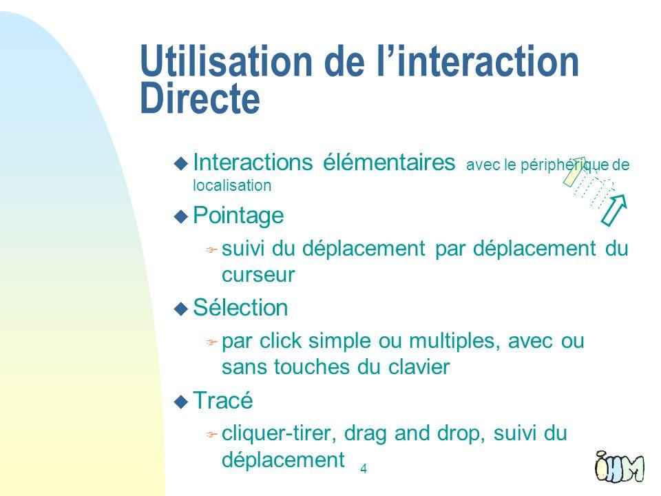 4 Utilisation de linteraction Directe u Interactions élémentaires avec le périphérique de localisation u Pointage F suivi du déplacement par déplaceme