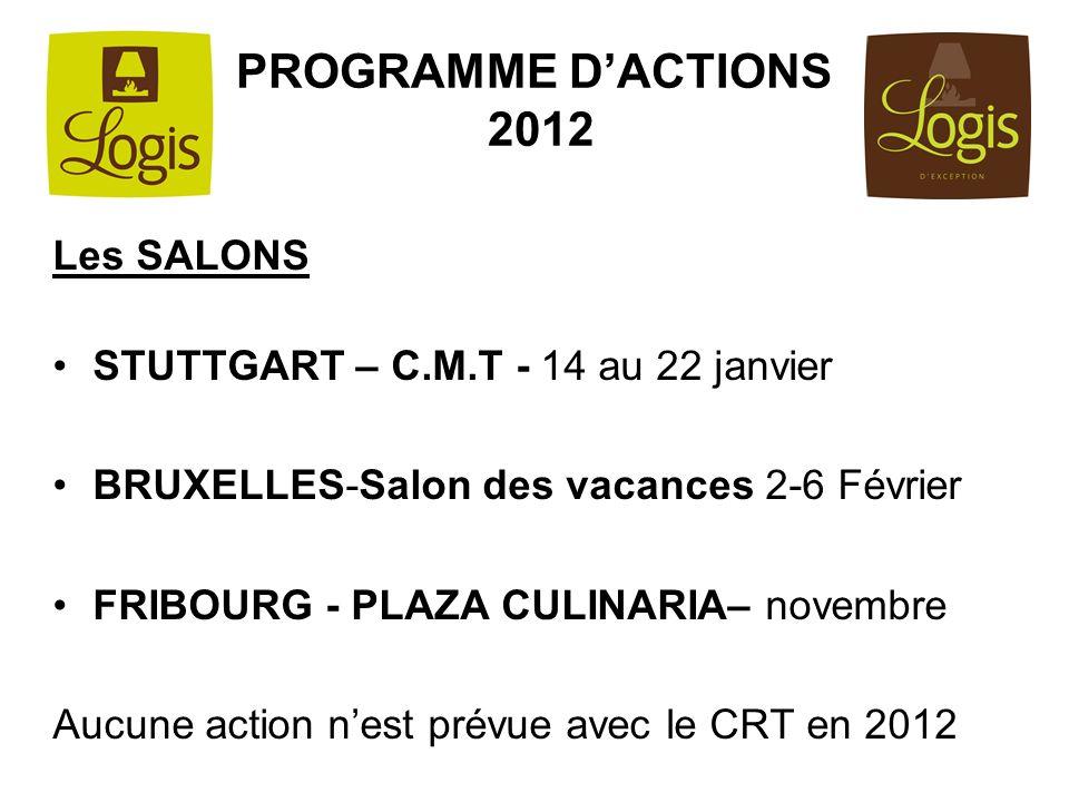 PROGRAMME DACTIONS 2012 Les SALONS STUTTGART – C.M.T - 14 au 22 janvier BRUXELLES-Salon des vacances 2-6 Février FRIBOURG - PLAZA CULINARIA– novembre
