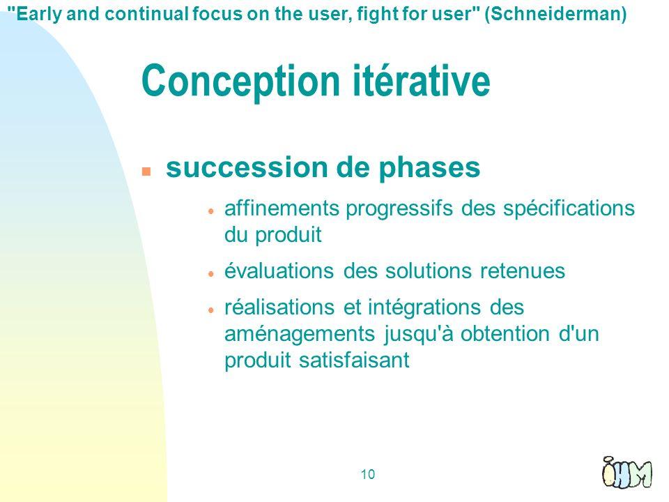 10 Conception itérative succession de phases affinements progressifs des spécifications du produit évaluations des solutions retenues réalisations et