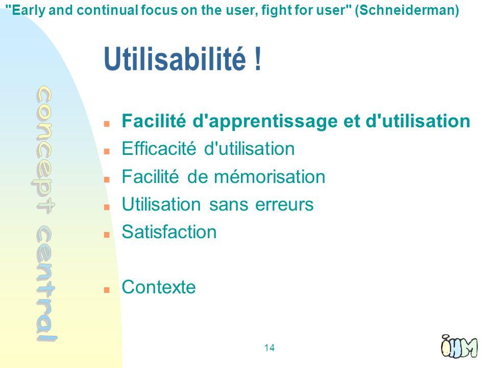 14 Utilisabilité ! Facilité d'apprentissage et d'utilisation Efficacité d'utilisation Facilité de mémorisation Utilisation sans erreurs Satisfaction C