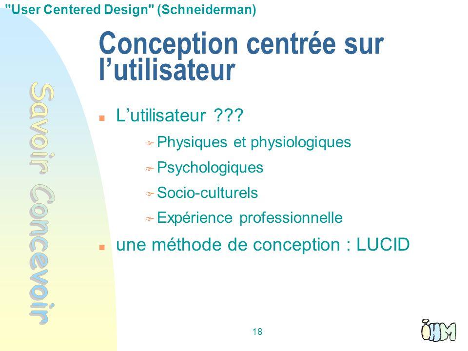 18 Conception centrée sur lutilisateur Lutilisateur ??? Physiques et physiologiques Psychologiques Socio-culturels Expérience professionnelle une méth